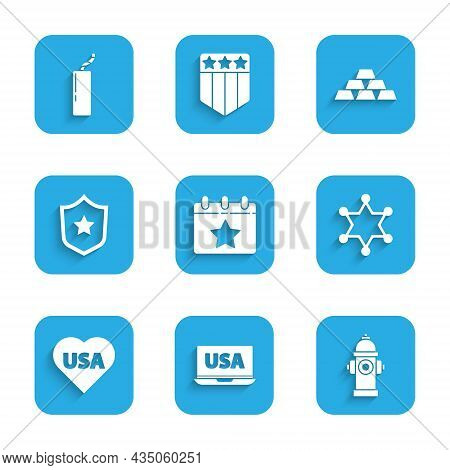 Set Calendar With Date July 4, Usa On Laptop, Fire Hydrant, Hexagram Sheriff, Independence Day, Poli