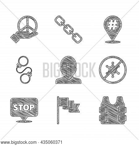 Set Vandal, Location Marker, Bulletproof Vest, Protest, Handcuffs, And Peace Icon. Vector