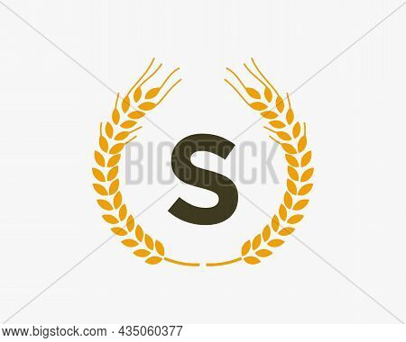 Agriculture Wheat Logo On S Letter. Letter S Agriculture Logo Design Template, Food, Healthy Nutriti