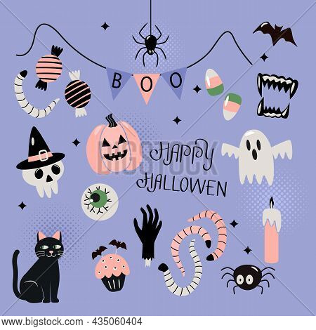 Happy Halloween Banner Or Greeting Card With Hand Lettering. Background With Jack Lamp, Skull, Black