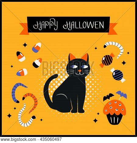 Happy Halloween Banner Or Greeting Card With Hand Lettering. Black Cat, Candies, Worms, Cupcake For