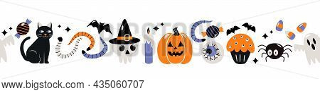 Seamless Pattern Border For Print And Web. Happy Halloween With Characters Icons Jack Lamp, Skull, B