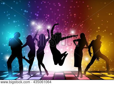 Colorful Background With Dancing Silhouettes On Dance Floor And With Light Effects - Illustration Wi