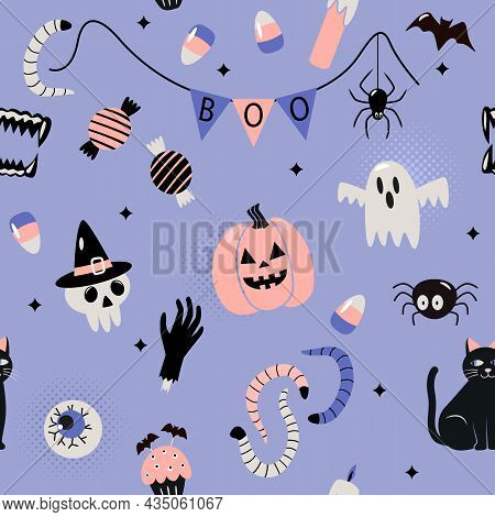 Seamless Pattern Happy Halloween With Holiday Symbols Jack Lamp, Skull, Black Cat, Worms, Bat, Candl
