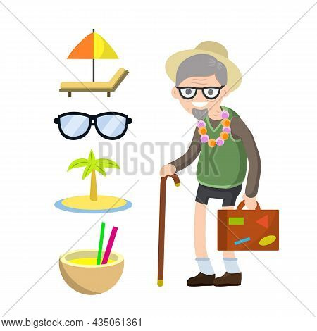 Old Senior Man In Shorts And Hat On Vacation. Retirement. Cartoon Flat Illustration. Trip Of Grandpa
