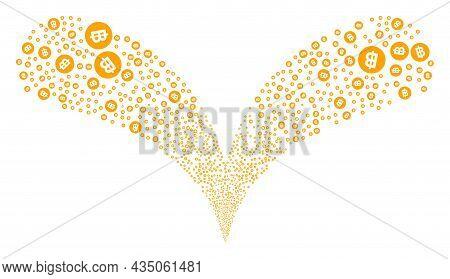 Bitcoin Coin Double Fireworks Fountain. Bitcoin Coin Explosion Double Fountain. Object Fountain Is O