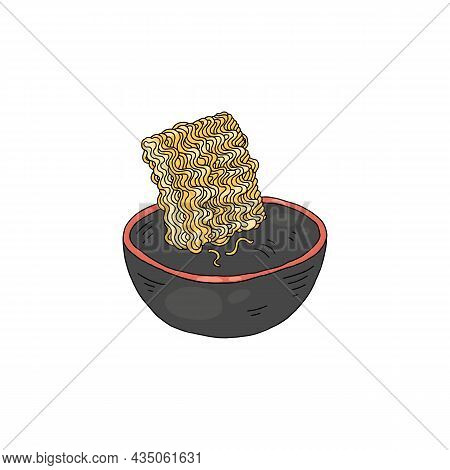 Instant Noodles Or Indomie In Bowl With Water, Vector Illustration Isolated.