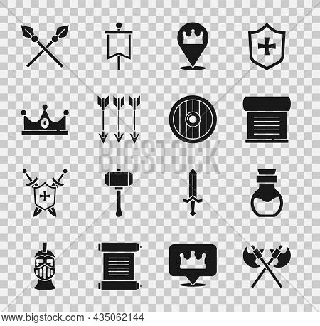 Set Crossed Medieval Axes, Poison In Bottle, Decree, Parchment, Scroll, Location King Crown, Arrows,