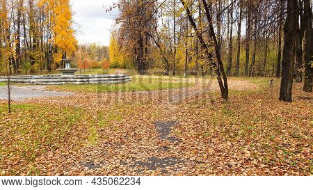 Autumn Landscape, Yellow Leaves On Trees, Old Park With Ruin Of Fountain