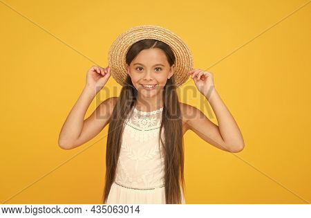 Adorable Little Girl Wearing Elegant Hat. Have Funny Summer Holiday. Summer Tour. Leisure And Entert