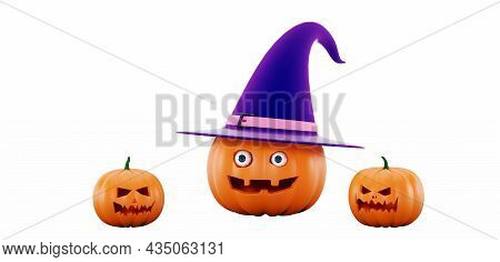 Halloween Pumpkins In A Witch Hat, On A White Background. Jack O Lantern Pumpkin With Witch Hat, 3d
