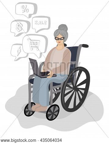 Grandmother Makes Online Purchases On A Laptop While Sitting In A Wheelchair. Vector Illustration In
