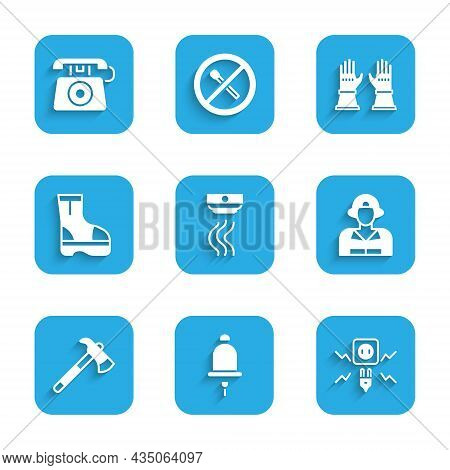 Set Smoke Alarm System, Ringing Bell, Electricity Spark, Firefighter, Axe, Boots, Gloves And Telepho