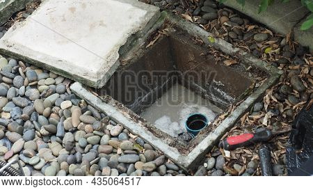 Drain Cleaning. Plumber Repairing Clogged Grease Trap With Auger