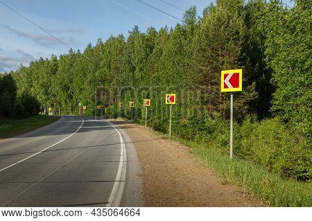 Road Sign Warning Dangerous Road Curve. Dangerous Turn. Curve Road