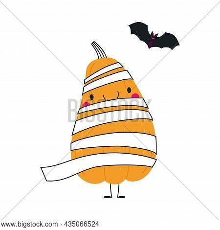 Cute Orange Pumpkin Character Wrapped In White Strap Having Fun At Halloween Holiday Vector Illustra