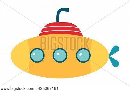 Orange Submarine With Periscope And Porthole Floating Underwater Vector Illustration