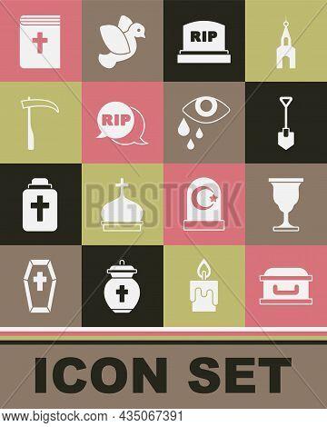 Set Coffin With Cross, Christian Chalice, Shovel, Tombstone Rip Written, Speech Bubble Rip Death, Sc