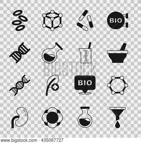 Set Funnel Or Filter, Molecule, Mortar And Pestle, Virus, Test Tube Flask, Dna Symbol, Hemoglobin An