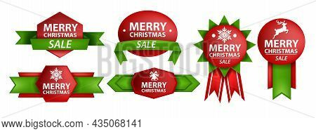 Christmas Ribbon Vector Sale Banner Set, Holiday X-mas Label Design Kit, Classic Bonus Sticker. Pape