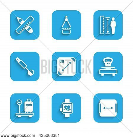 Set Diagonal Measuring, Smart Watch, Area Measurement, Scales, With Suitcase, Measuring Spoon, Heigh