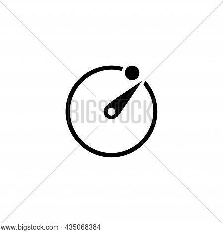 Camera Timer, Photo Exposure, Stopwatch. Flat Vector Icon Illustration. Simple Black Symbol On White