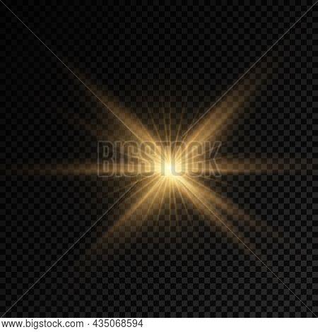 Yellow Sun Rays, Golden Light Effect, Star.