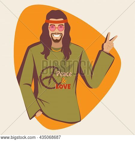 Hippie Shows The Peace Symbol, Hippy Subculture, Vector Illustration