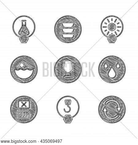 Set Fragile Broken Glass, Industrial Hook, Recycle Symbol, Water Drop, Temperature Wash, Carton Card