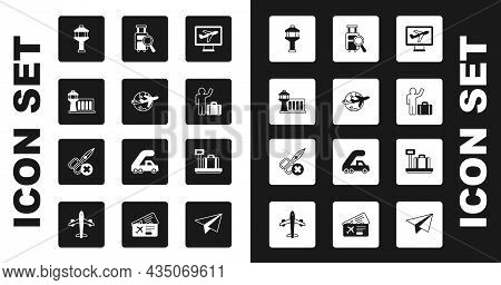Set Plane, Globe With Flying Plane, Airport Control Tower, Tourist Suitcase, Lost Baggage, Scale And