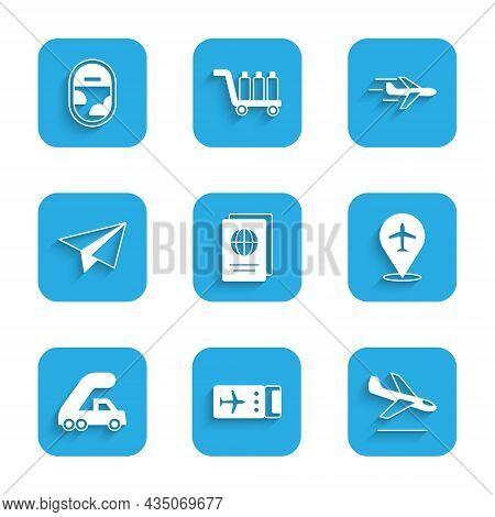Set Passport, Airline Ticket, Plane Landing, Passenger Ladder For Plane Boarding, Paper Airplane, An
