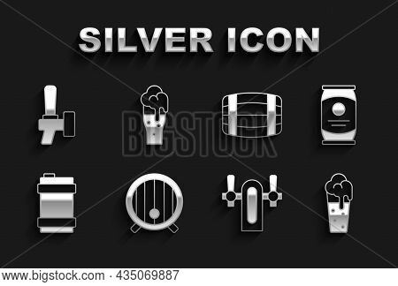 Set Wooden Barrel, Beer Can, Glass Of Beer, Tap, Metal Keg, And Icon. Vector