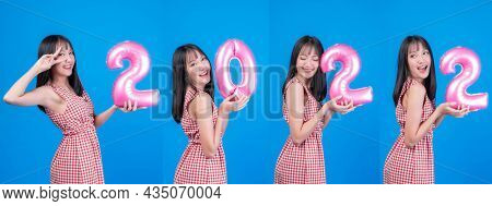 Collection Beautiful Asian Woman Cute Girl Wearing Bright Colored Dress Holding A Numbers 2022 Repre