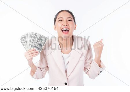 Successful Beautiful Asian Business Young Woman Holding Money Us Dollar Bills In Hand ,excited  Busi