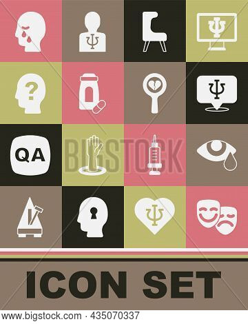 Set Comedy And Tragedy Masks, Tear Cry Eye, Psychology, Psi, Armchair, Sedative Pills, Head With Que