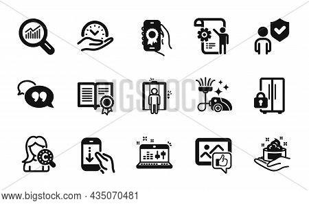 Vector Set Of Data Analysis, Like Photo And Diploma Icons Simple Set. Settings Blueprint, Scroll Dow