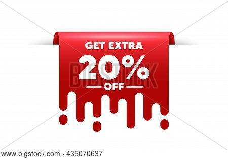 Get Extra 20 Percent Off Sale. Red Ribbon Tag Banner. Discount Offer Price Sign. Special Offer Symbo