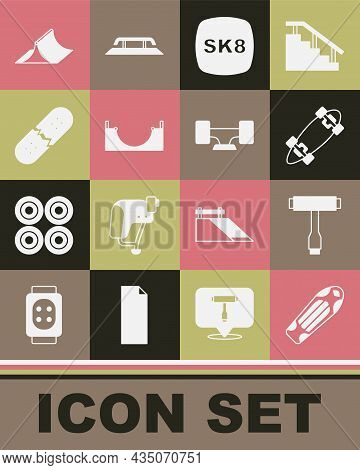 Set Skateboard Deck, T Tool, Longboard Or Skateboard, Park, Broken, And Wheel Icon. Vector
