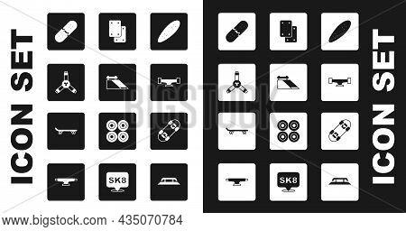 Set Longboard Or Skateboard, Skate Park, Skateboard Y-tool, Broken Deck, Wheel, Knee Pads, And Icon.