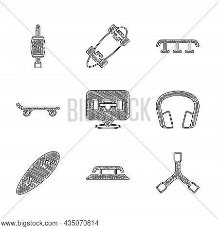 Set Skateboard Wheel, Stairs With Rail, Y-tool, Headphones, Longboard Or Skateboard, And Screwdriver