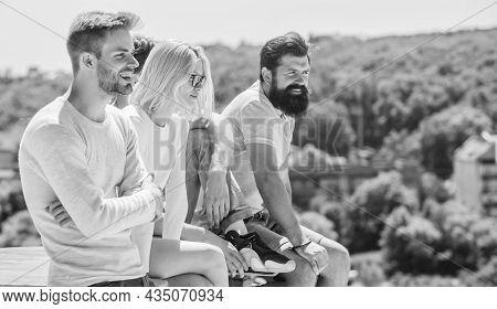 Communicative Skills. Summer Vacation. Men Woman Communicating Sky Background. Social Interaction. H
