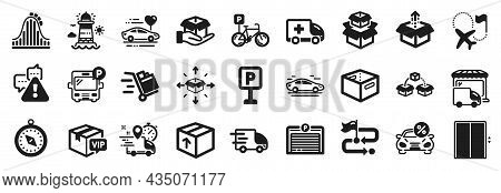 Set Of Transportation Icons, Such As Travel Path, Bus Parking, Hold Box Icons. Bicycle Parking, Deli