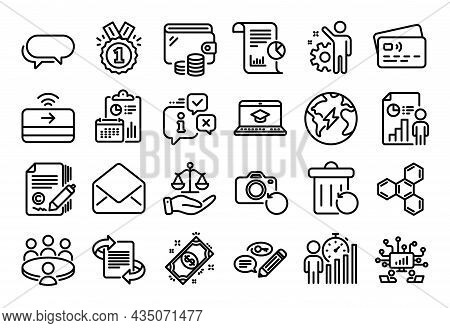 Vector Set Of Justice Scales, Recovery Trash And Contactless Payment Line Icons Set. Calendar Report