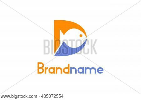 Abstract Letter D Or Md Fish Logo. Md Letter Logo With Fish Design Concept On Negative Space. A Crea