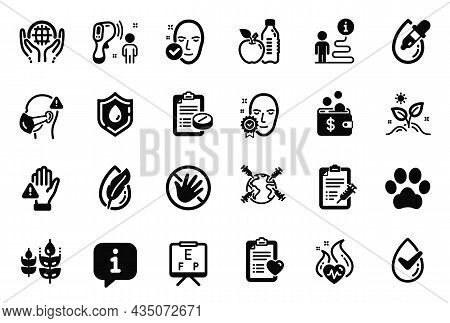 Vector Set Of Healthcare Icons Related To Vision Board, Blood Donation And Dog Paw Icons. Electronic