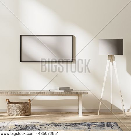 Horizontal Frame Mock Up In Modern Living Interior, Bright Room With Sunbeams, Wall Mock Up, 3d Rend