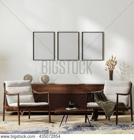 Mock Up Frames In Modern Living Room Interior With Two Armchairs Near Coffee Table And Home Decorati