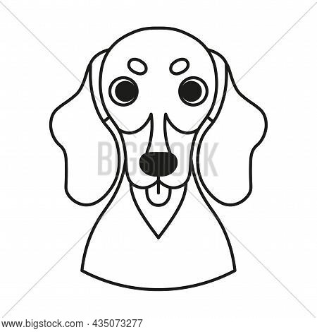 Isolated Cute Avatar Of A Hound Dog Breed Vector Illustration