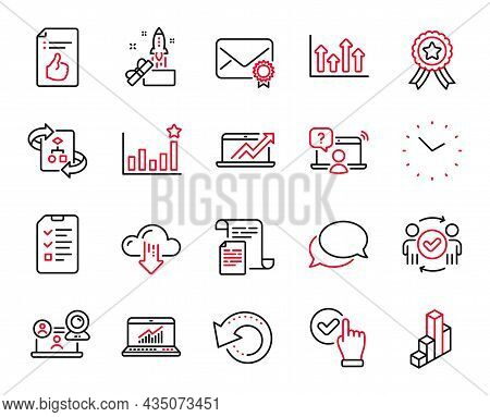 Vector Set Of Education Icons Related To Sales Diagram, Recovery Data And Approved Teamwork Icons. 3