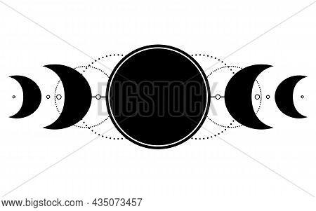 Triple Moon Pagan Wicca Moon Goddess Symbol. Three-faced Goddess, Maiden, Mother, Crone Vector Illus